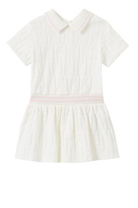 فستان بنمط قميص شنيل بشعار حرفي FF