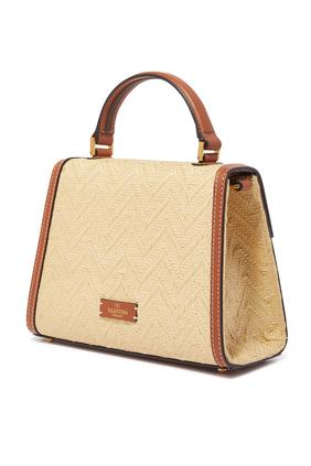 حقيبة يد فالنتينو غارافاني صغيرة خوص بشعار حرف V