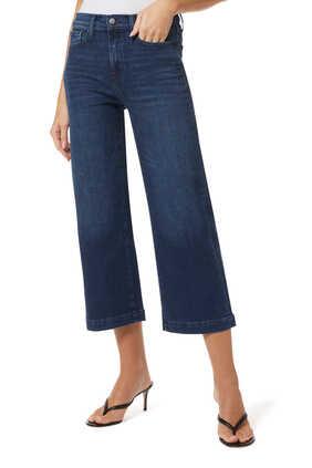 بنطال جينز قصير بخصر مرتفع وقصة ساقين واسعتين