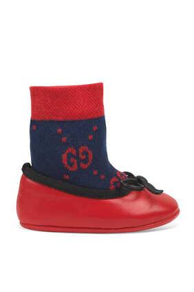 حذاء باليرينا جلد بشعار الماركة