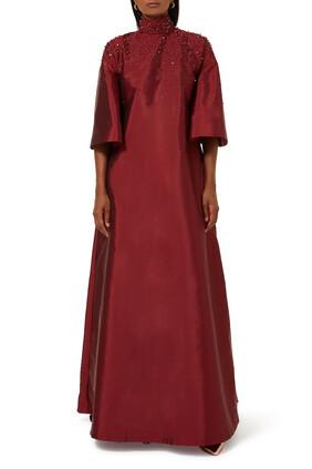 فستان زنوبيا حرير مزين بالترتر