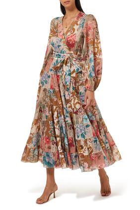فستان كاسيا متوسط الطول بتصميم ملفوف مقسم لأجزاء