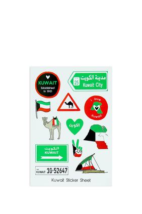 ورقة ملصقات بتصميمات كويتية