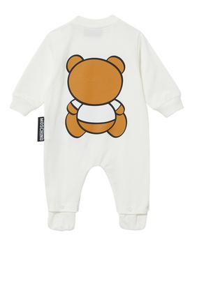 لباس قطعة واحدة صوف بطبعة دب تيدي بشعار الماركة