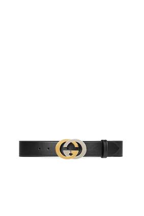 حزام جلد بإبزيم بشعار حرفي G المتداخلين