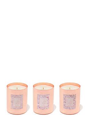 مجموعة هدايا من ثلاث شموع بعلبة معدنية