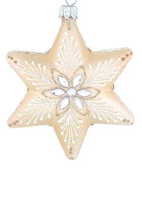 زينة زجاجية بتصميم نجمة بخرز لشجرة الكريسماس