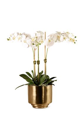 زهور أوركيد صناعية في مزهرية ذهبية