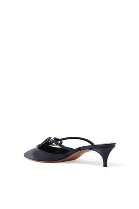 حذاء فالنتينو غارافاني 40 مفتوح جلد لامع مزين بشعار حرف V