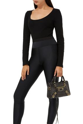 حقيبة سيتي ميني بتصميم لامع ونقشة جلد التمساح