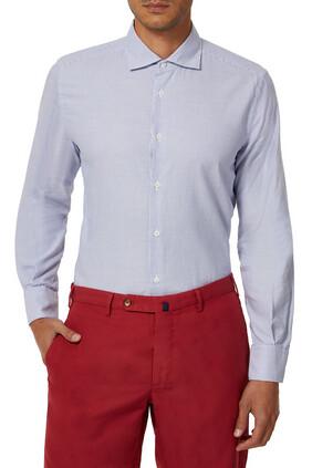 قميص أكسفورد قطن بوبلين بقصة ضيقة