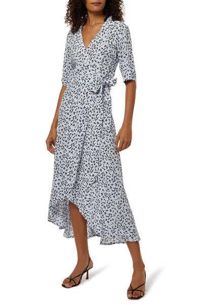 فستان فيسكوز بنقشة وتصميم ملفوف