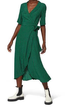 فستان كريب بتصميم ملفوف ونقش المربعات