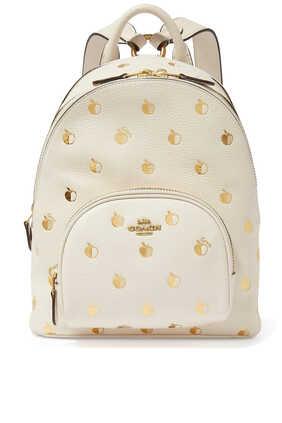 حقيبة ظهر كاري جلد بنقشة تفاح