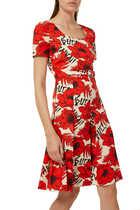 فستان قصير بنقشة الزهور