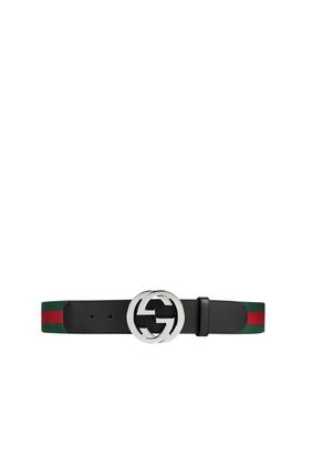حزام بشريط ويب وإبزيم بتصميم حرفي GG