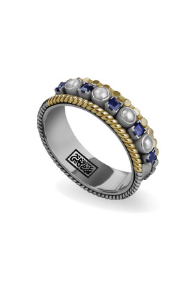 18 Kt Gold and Sterling Silver stacked ring adorned with calligraphy, pearls and precious stones:Silver and gold:51