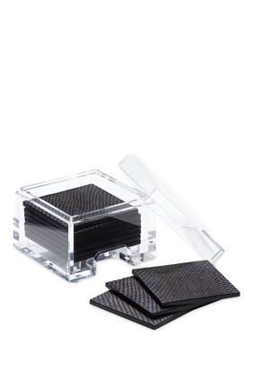 قواعد أكواب كوست بوكس جلد صناعي بنقشة جلد الأفعى مع صندوق شفاف