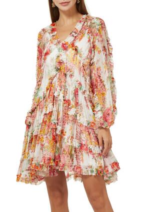 فستان ماي كشكش بأكمام منفوخة