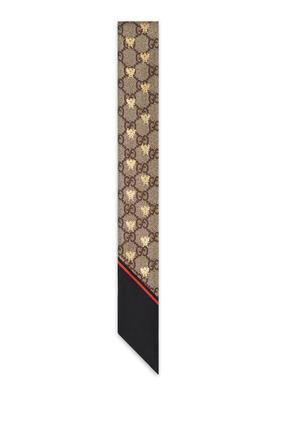 ربطة عنق حرير بنقشة نحل وحرفي GG