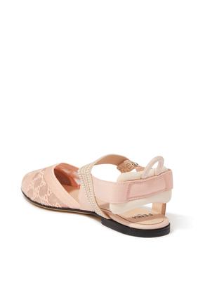 حذاء باليرينا دانتيل بشعار FF بتصميم كارليغرافي وسير خلفي