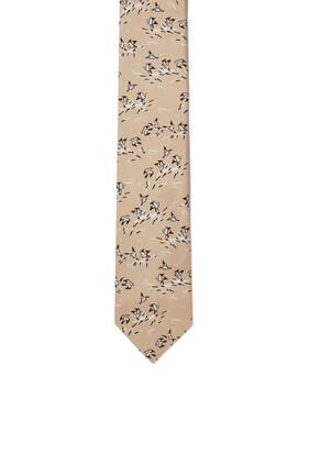 ربطة عنق حرير بنقشة طيور