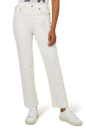 بنطال جينز سيفنتيز ستوف بايب بخصر مرتفع