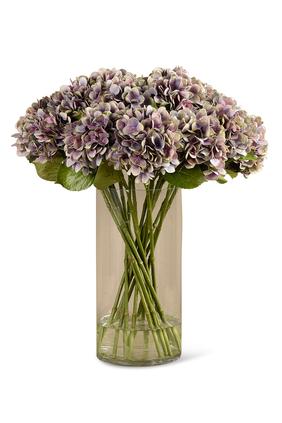 باقة زهور هدرانج صناعية في مزهرية زجاجية