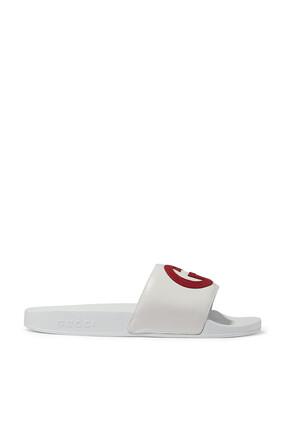 حذاء مفتوح جلد بشعار حرفي GG متداخلين