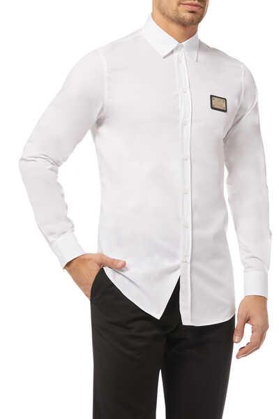 قميص بوبلين برقعة مزينة بشعار الماركة