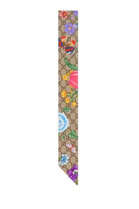 ربطة عنق حرير بنقشة الزهور وشعار GG