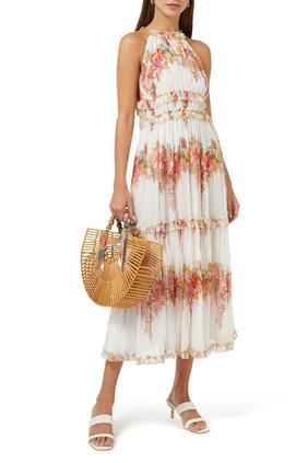 فستان ماي متوسط الطول بطبقات كشكش