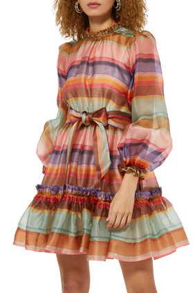 فستان لوف سترك قصير بألوان قوس قزح