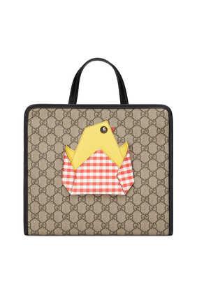 حقيبة يد بنقشة مربعات وشعار GG