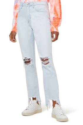 بنطال جينز بتصميم ممزق وخصر مرتفع