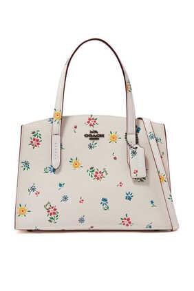 حقيبة تشارلي 28 جلد بنقشة زهور برية
