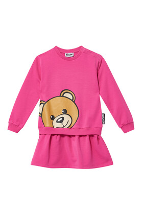 فستان بطبعة الدب تيدي وشعار الماركة
