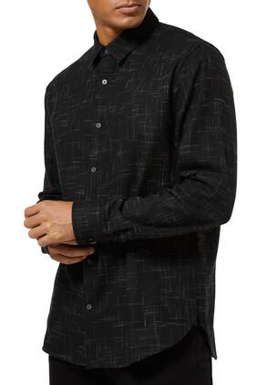 قميص قطن بنقشة خطوط متقاطعة