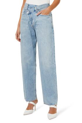بنطال جينز بتصميم متقاطع وقصة واسعة