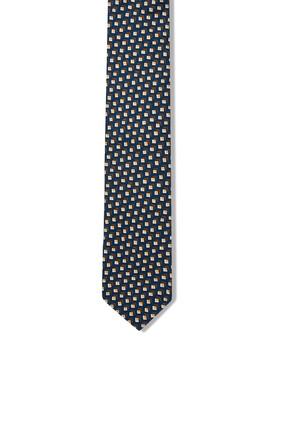 ربطة عنق حرير بنقشة هندسية دقيقة