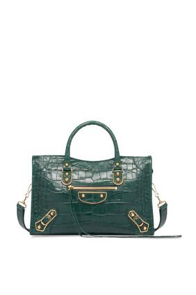 حقيبة سيتي بتصميم كلاسيك لامع ونقشة جلد التمساح
