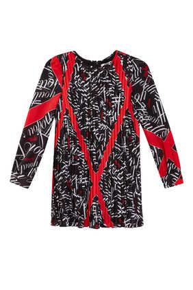 فستان كريب صيني بنقشة