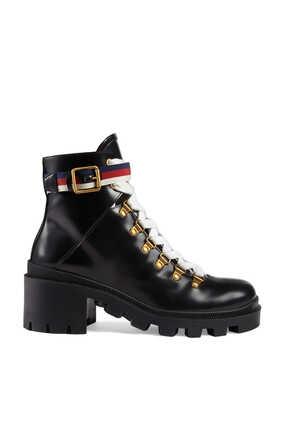 حذاء بوت بطول الكاحل جلد مزين بشريط ويب سيلفي