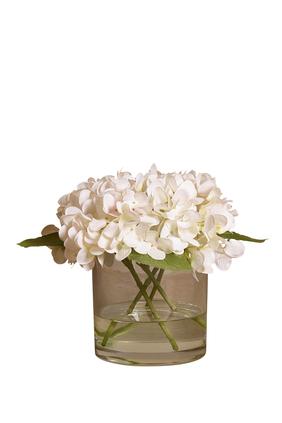 زهور الهدرانج في مزهرية زجاجية
