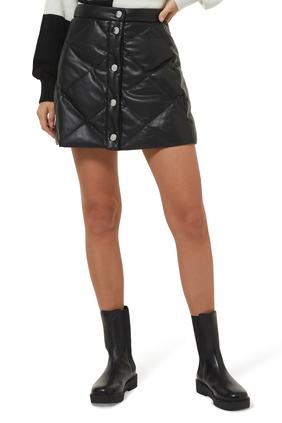 تنورة دايس قصيرة جلد بتصميم مبطن