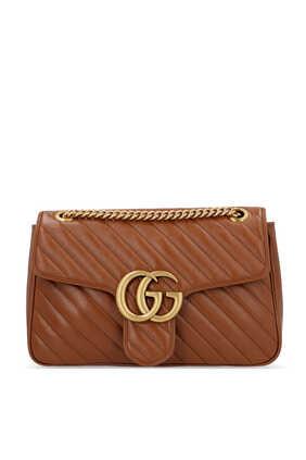 حقيبة كتف مارمونت بتصميم مبطن وخطوط مائلة وشعار GG