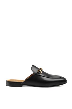 حذاء برينستاون جلد بحلية لجام حصان مفتوح من الخلف