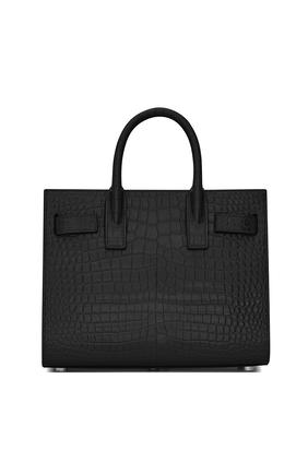 حقيبة كلاسيك ساك دو جور نانو جلد لامع بنقشة جلد التمساح