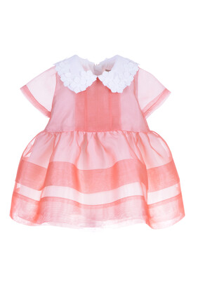 BG Organza & Embroidered Flowers Bodice Dress & Bloomers:Pink :6M