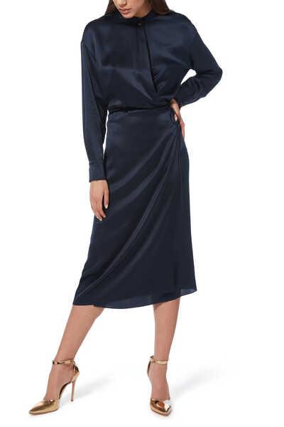 فستان متوسط الطول بتصميم ملفوف